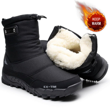 Winter Shoes Snow-Boots Non-Slip Warm Outdoor Thick Mid-Calf Plush WEH Men 30%Wool