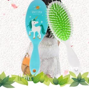 Image 4 - Escova de cabelo antiestática de unicórnio, escova de cabelo fofa para desembaraçar cabelos cores