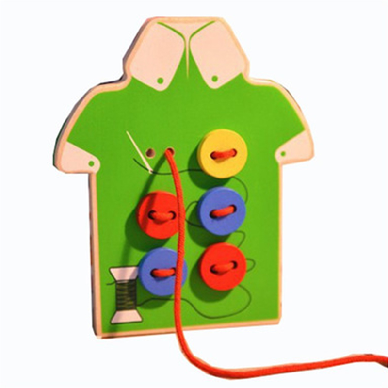 Baby Wooden Beads Toy Set DIY Lacing Clothes Board Sew On Buttons Lacing Stringing BeadsToy Kids Threading Beads Game Montessori