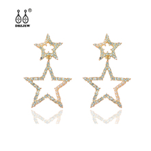 DREJEW Big Small Gold Star Rhinestone Statement Earrings Sets 2019 925 Crystal Stud for Women Wedding Jewelry HE5111