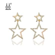 DREJEW Big Small Gold Star Rhinestone Statement Earrings Sets 2019 925 Crystal Stud Earrings for Women Wedding Jewelry HE5111 цена и фото