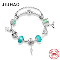 925 Sterling Silver Glamorous flowers Bracelets Green Murano Glass Beads heart key Charms Fashion woman Bracelet Luxury Jewelry