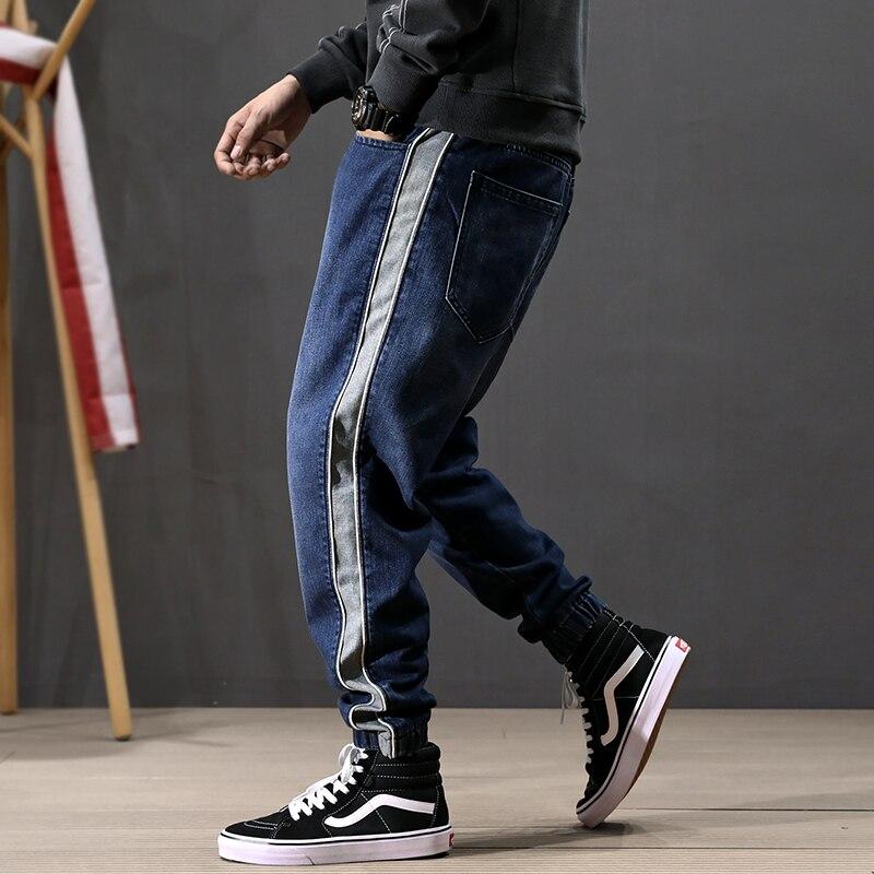 Japanese Fashion Men Jeans Loose Fit Side Stripe Spliced Cargo Pants Harem Jeans Streetwear Designer Hip Hop Jeans Men Joggers