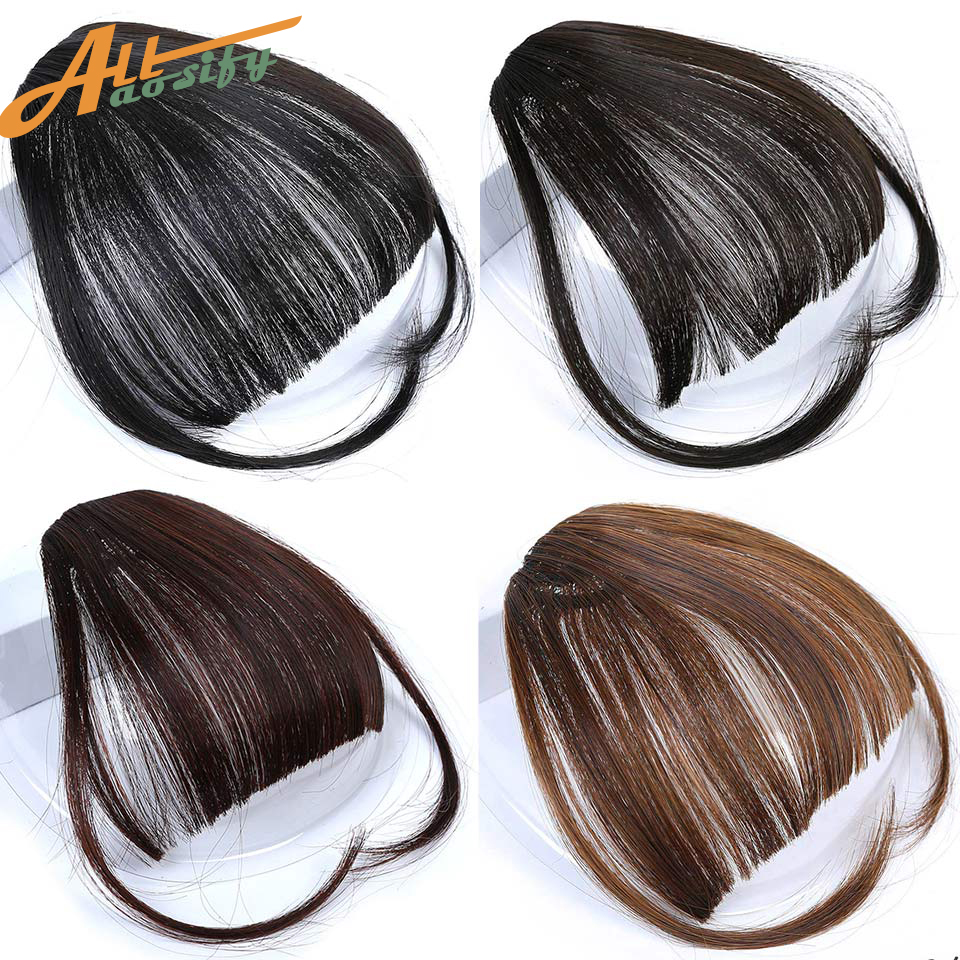 Allaosify Hairpiece Bangs Clip-On Black Synthetic