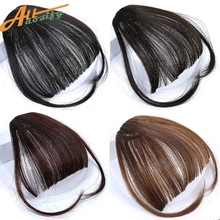 Allaosify Clip In Hair Bangs Hairpiece Synthetic Fake Bangs
