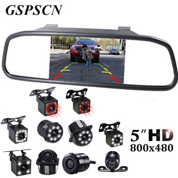цена на GSPSCN 5 inch Car Rearview Mirror Monitor Auto Parking Vedio + LED Night Vision Backup Reverse Camera CCD Car Rear View Camera