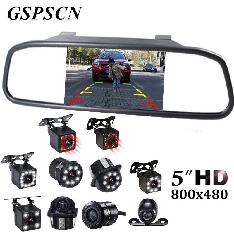 Gspscn 5 дюймов автомобиля Зеркало заднего вида Мониторы автопарк Vedio + LED Ночное видение резервного копирования Обратный Камера CCD вид сзади ав