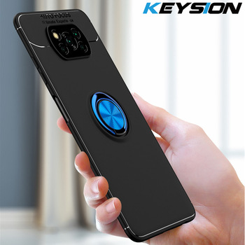 KEYSION Shockproof Case For Xiaomi POCO X3 NFC Soft Silicone Magnetic Metal Ring Stand Phone back cover for Pocophone X3 NFC