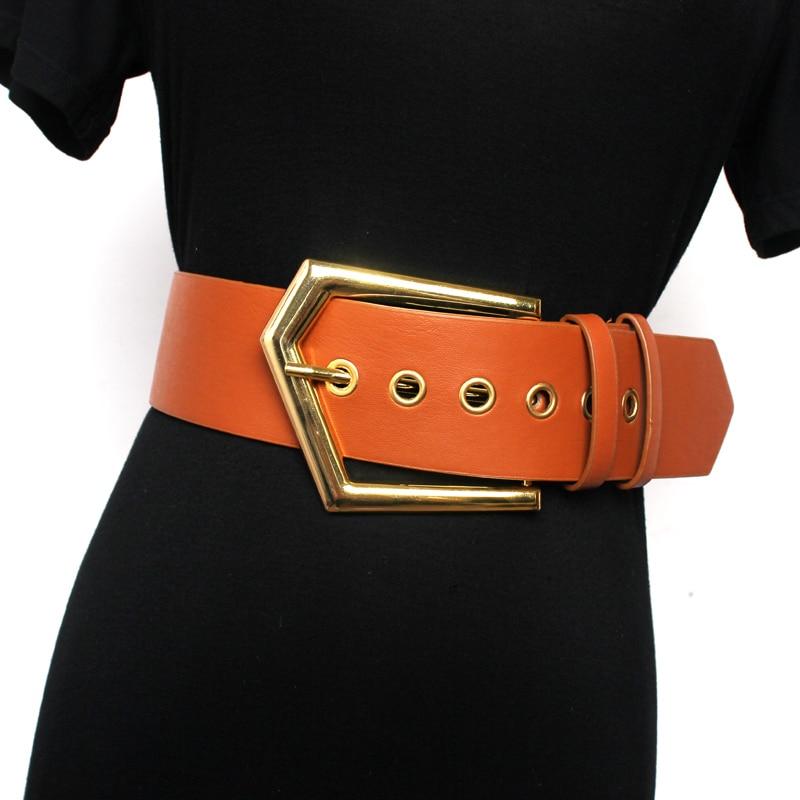 Women Wide Belt Decoration With Coat Skirt Leather Black European And American Fashion Waist Oblique Buckles High Waist Belt
