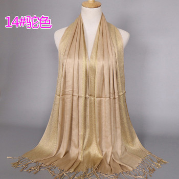 2019 NEW women gold cotton solid color muslim head scarf shawls and wraps pashmina bandana female foulard ladies hijab stores - discount item  5% OFF Scarves & Wraps