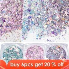 Caja de copos de brillantina para uñas, lentejuelas de colores hexagonales 3D brillantes, TRDJ01 12 para decoración artística de manicura, 1 caja
