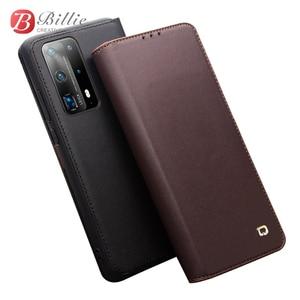 Image 1 - Brieftasche Telefon Fall Flip Cover für Huawei P40 P40Pro Echtem Leder Telefon Bag Business Cases Abdeckungen für Huawei P40 Pro abdeckung