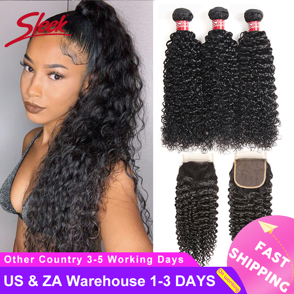 Sleek Peruvian Kinky Curly Weave Human Hair Bundles With Closure Free Part Non-Remy Human Hair Extensions 3 Bundles With Closure