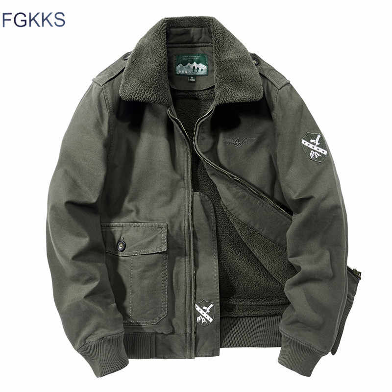 FGKKS Men High Quality Jacket Men's Military Style Solid Color Jacket Male New Casual Brand Plus Velvet Thickening Jackets Coat