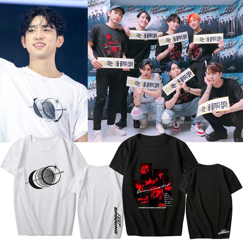 2019 Kpop Got7 World Tour Female T Shirt KEEP SPINNING Got7 Exo Blackpink Women Fashion Cotton Short Sleeve Top S-3XL