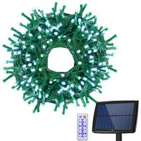 Upgraded 200LED Solar String Fairy Christmas Light IP65 Ambiance Lighting for Outdoor Patio Lawn Remote Control/Memory Function