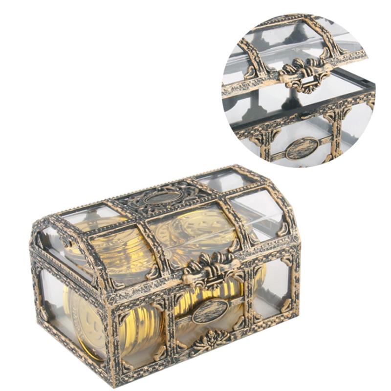 Caja de plástico transparente con forma de pirata para guardar dinero, caja de plástico transparente con gemas de cristal, figuras de acción de piratas|Juguetes de dinero y banca|   -