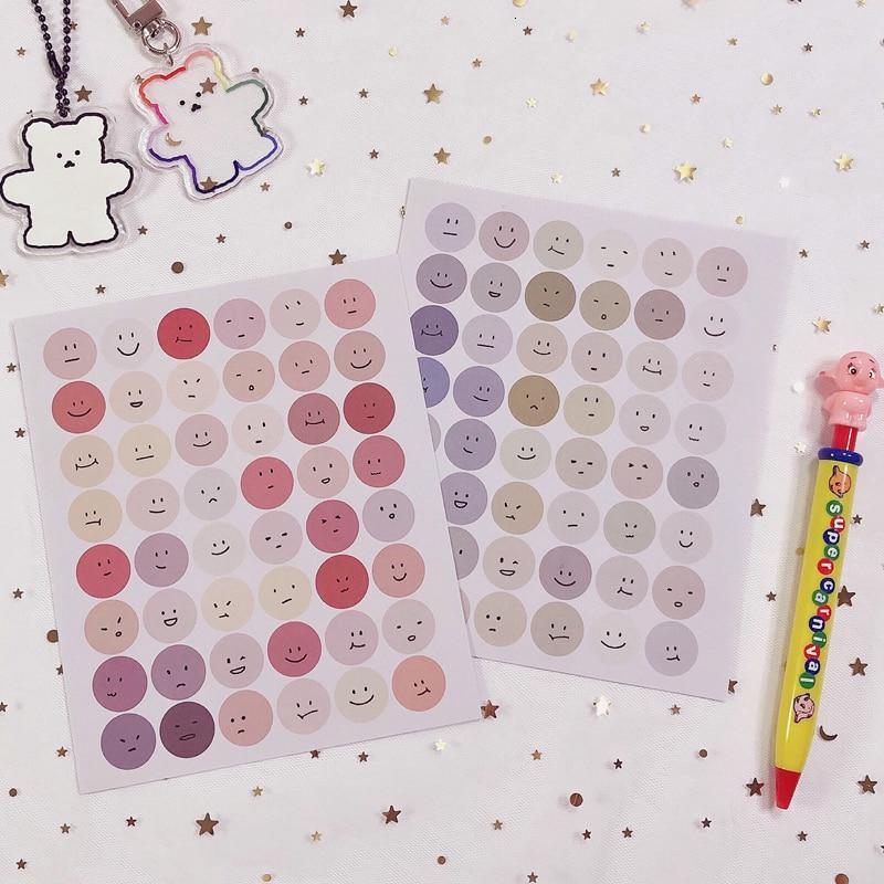 2Pc Smiley Expression Decorative Sticker Irregular Korean Diy Hand Account Diary Album Stick Label Seal Sticker Stationery