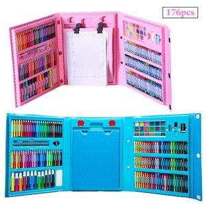 Image 2 - 176 adet çocuk çocuklar renkli kalem sanatçı seti seti boyama mum boya işaretleyici kalem fırça çizim alet takımı anaokulu malzemeleri