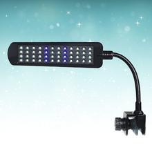 12V 48 LEDs oświetlenie do akwarium roślina wodna oświetlenie wodoodporna lampa Clip-on niebieskie i białe światło do akwarium (wtyczka EU czarna) tanie tanio CN (pochodzenie) Klips