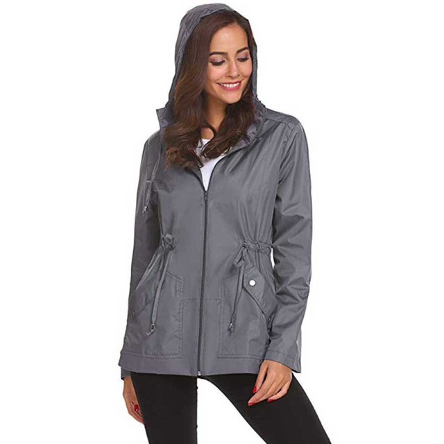 FASHION Womens Outside Raincoat Waterproof Lightweight Hooded Overcoat Rain Casual Jacket ladies Grils Jackets Blouse Tops