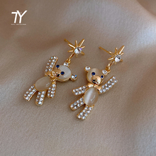 2020 new opal Bear Pendant Earrings cute girl Earrings unusual Star Earrings for American and European Halloween parties