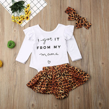 Toddler Baby Girl Clothes Long Sleeve letter Romper Tops + Leopard Skirt + Headband Autumn 3PCS Outfits Set 1