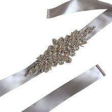 Wedding-Sash Ribbon Dress Jewelry Waist-Belt Rhinestone Crystal Bridal Women Wide Cummerbund