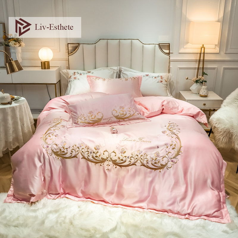 Liv-Esthete Luxury 100% A Silk B Cotton European Pink Bedding Set Healthy Duvet Cover Set Bed Linen Double Queen King For Beauty