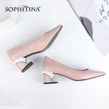 Купить с кэшбэком SOPHITINA Design Square Heel Pumps High Quality Genuine Leather Pointed Toe Pumps Comfortable Handmade Shallow Women Shoes C565