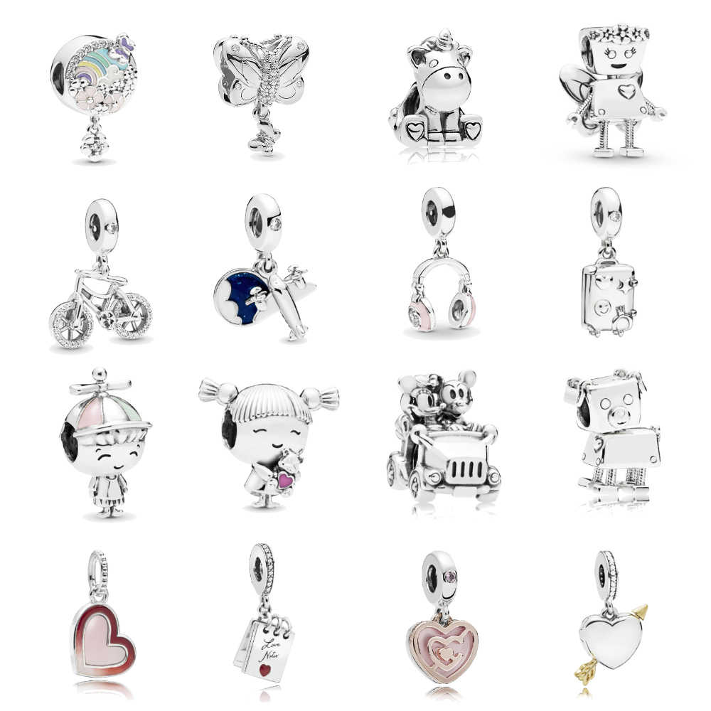 Silver Plated Aircraft Love Heart Unicorn Charms Beads Fit Pandora Bracelets & Necklace For Women DIY Making Christmas Jewelry