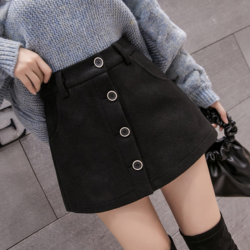 2019 New Korean Style Single Breasted High Waist Wool Shorts Skirts Women Autumn Winter Woolen Culottes Female Casual Shorts