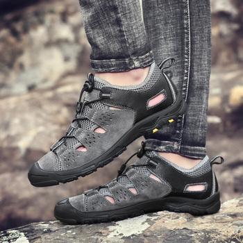 Nowe modne sandały męskie skórzane klasyczne rzymskie sandały pantofel na zewnątrz wygodne plażowe męskie letnie trekkingowe casualowe sandały tanie i dobre opinie fuhaobang Skóra Split Fisherman NONE LEISURE RUBBER Lace-up Mieszkanie (≤1cm) Pasuje prawda na wymiar weź swój normalny rozmiar