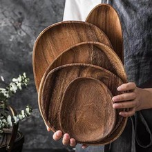 Madera entera mal de amores de madera ovalado Irregular de madera maciza Pan de frutas platos plato bandeja de té postre artículos de mesa plato para cena conjunto
