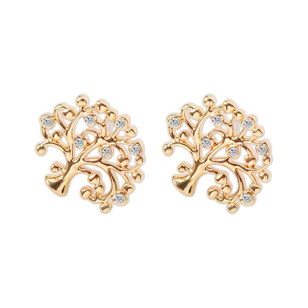 Tree Of Life Stud Earrings For Women Gold Piercing Earring CZ Crystal Boucle D'oreille Ear Studs boho Jewelry Ethnic Gift