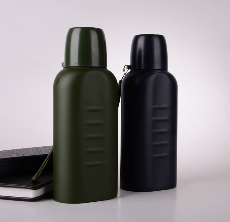 Spacious Flat Insulated Sports Bottle Stainless Steel Genuine Product Outdoor Security Staff Patrol Eight Sets Of Accessories Al