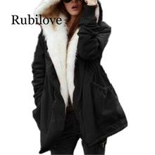 Rubilove Solid color fur parkas mujer cotton padded hooded jacket winter coat women casual parka femme arm female