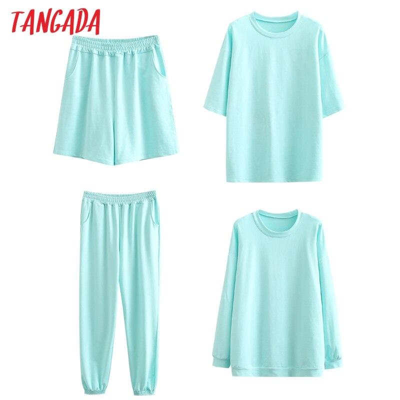 Tangada 2020 Autumn Women Terry 95% cotton suit oversized 4 pieces sets o neck hoodies sweatshirt shorts pants suits 6L30 2