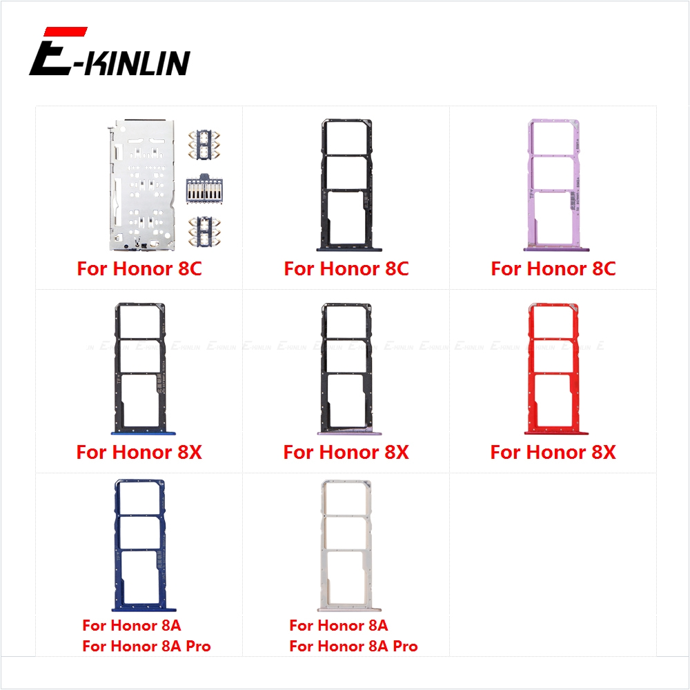 Sim Card Socket Slot Tray Reader Holder Connector Micro SD Adapter Container For HuaWei Honor 8C 8X 8A Pro Replacement Parts