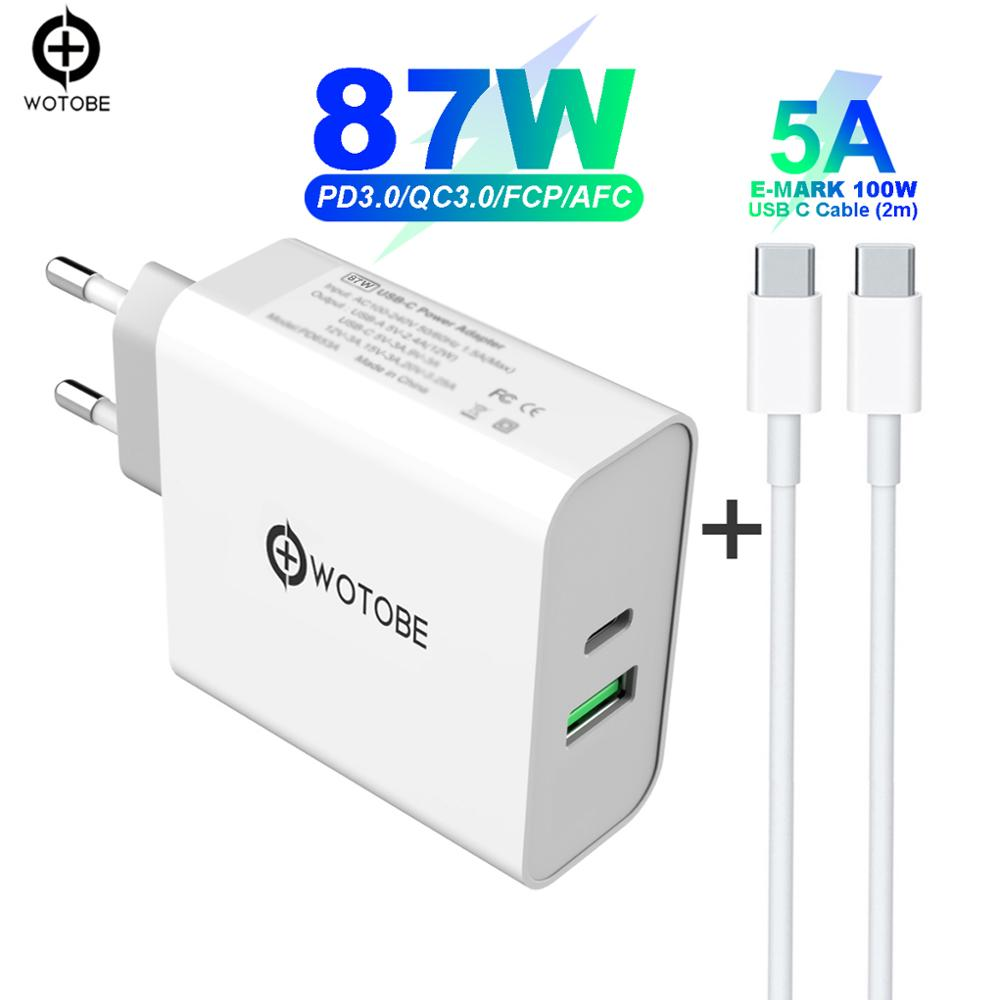 USB-C PD87W Power Adapter,1Port PD87W/65W Wall Charger For USB-C Laptops MacBook IPad Pro,1 Port USB A 2.4A For Samsung IPhone