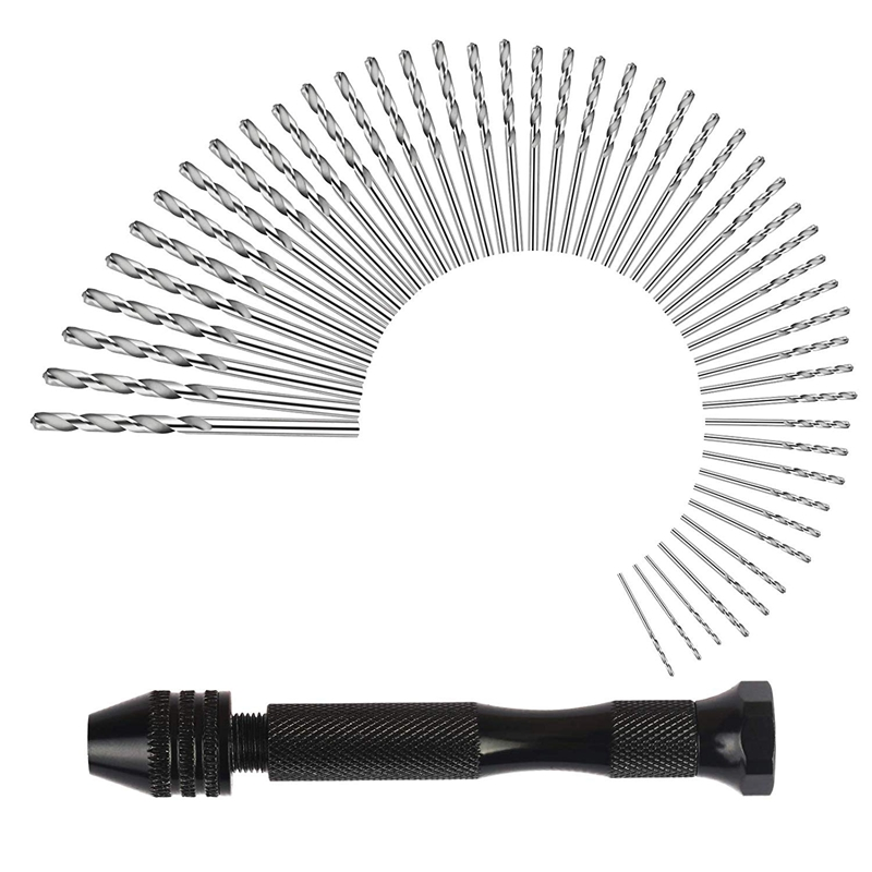 Hand Drill Set Precision Pin Vise With 49 Pcs Mini Twist Drill Bits For Model,Diy,Jewelry Making,Multipurpose Rotary Tool Drilli