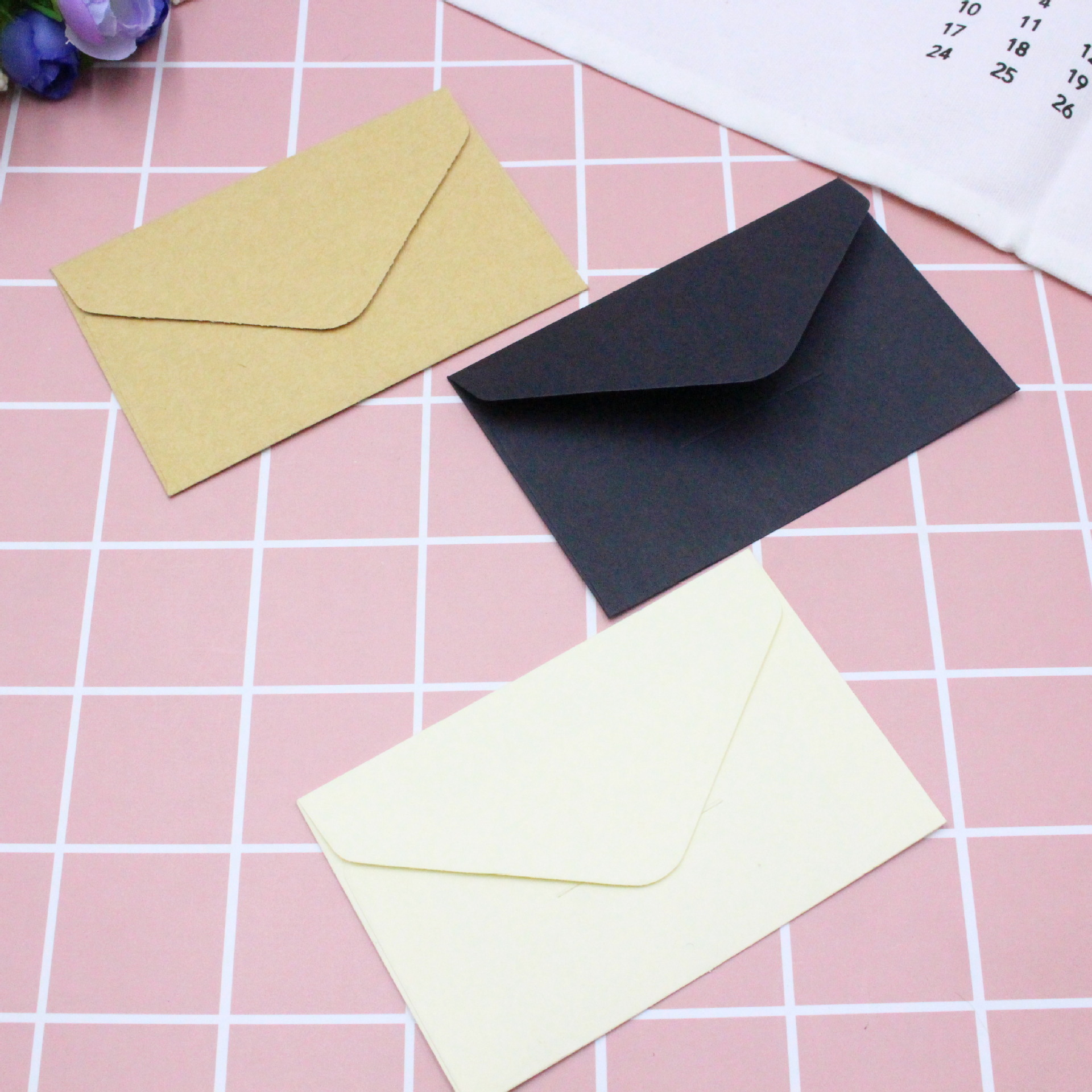 1PC Classical White Black Kraft Blank Mini Paper Window Envelopes Wedding Invitation Envelope Gift Envelope
