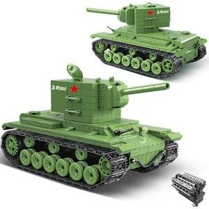 Image 1 - 818 ADET Askeri Tank Sovyet Rusya KV2 Tankı Yapı Taşları Fit Legoing WW2 Asker Polis Ordu Tuğla Çocuklar için çocuk oyuncakları Hediyeler
