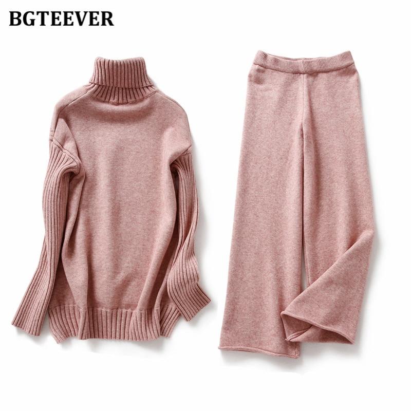 BGTEEVER-Jersey de cuello alto para mujer, conjunto de 2 piezas de punto grueso, suéter y pantalones de pierna ancha, 2020