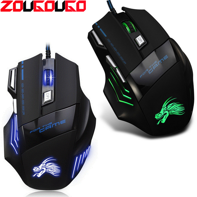 Professional 5500 DPI Gaming Mouse 7 Buttons LED Optical USB Wired Mice For Pro Gamer High Quality