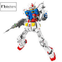 Figuras de acción de Gundam, Anime, mecánico, Guerrero, Robot de bloques de construcción, transformación, juguetes sin placa Base