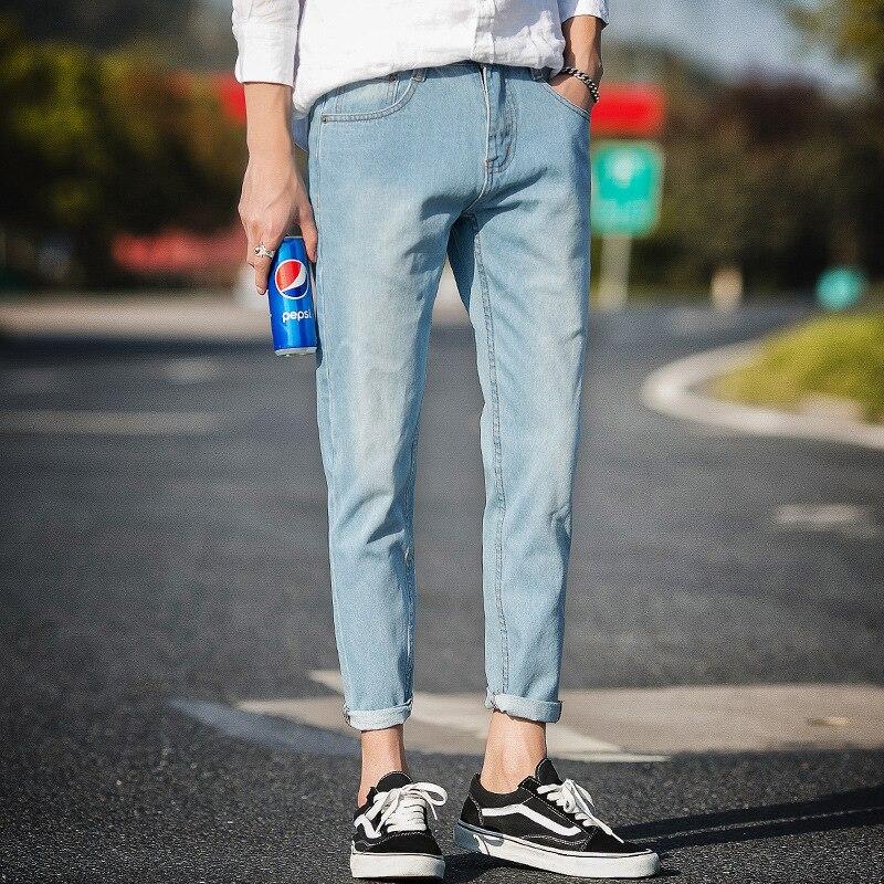 Spring And Summer Men Capri Jeans Youth Slim Fit Pants Black Ripped Pants Men's Korean-style Trend 2017