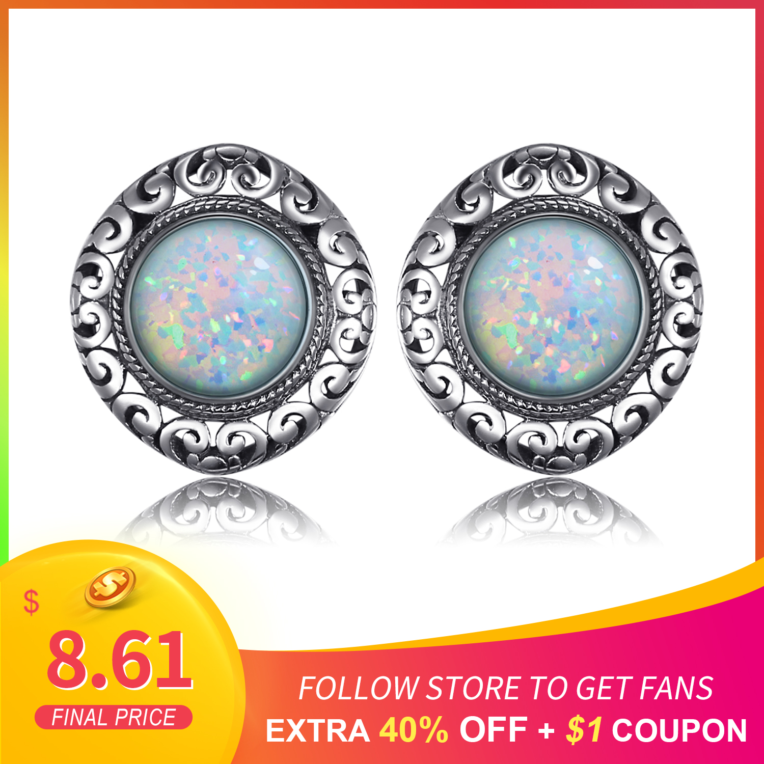 JewelryPalace Vintage 2.5ct Round Cabochon Created Opal Carving Heart Stud Earrings 925 Sterling Silver Earrings Women Jewelry