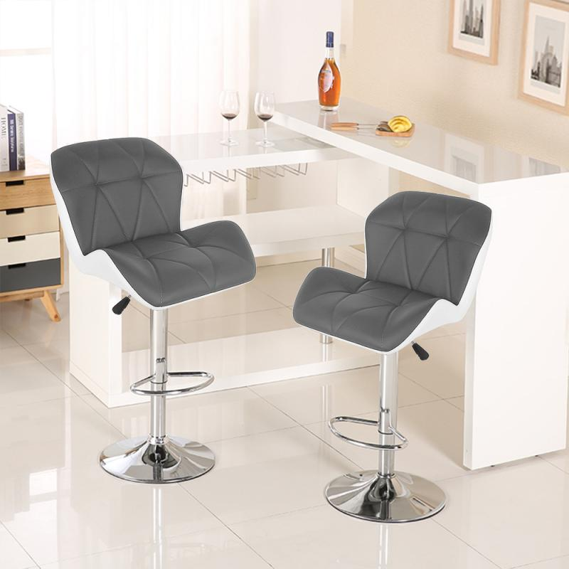2pcs/pair European Square Shaped Bar Stools Chairs Backrest Bar Chair Synthetic PU Leather Rotating Pneumatic Pub Chair HWC