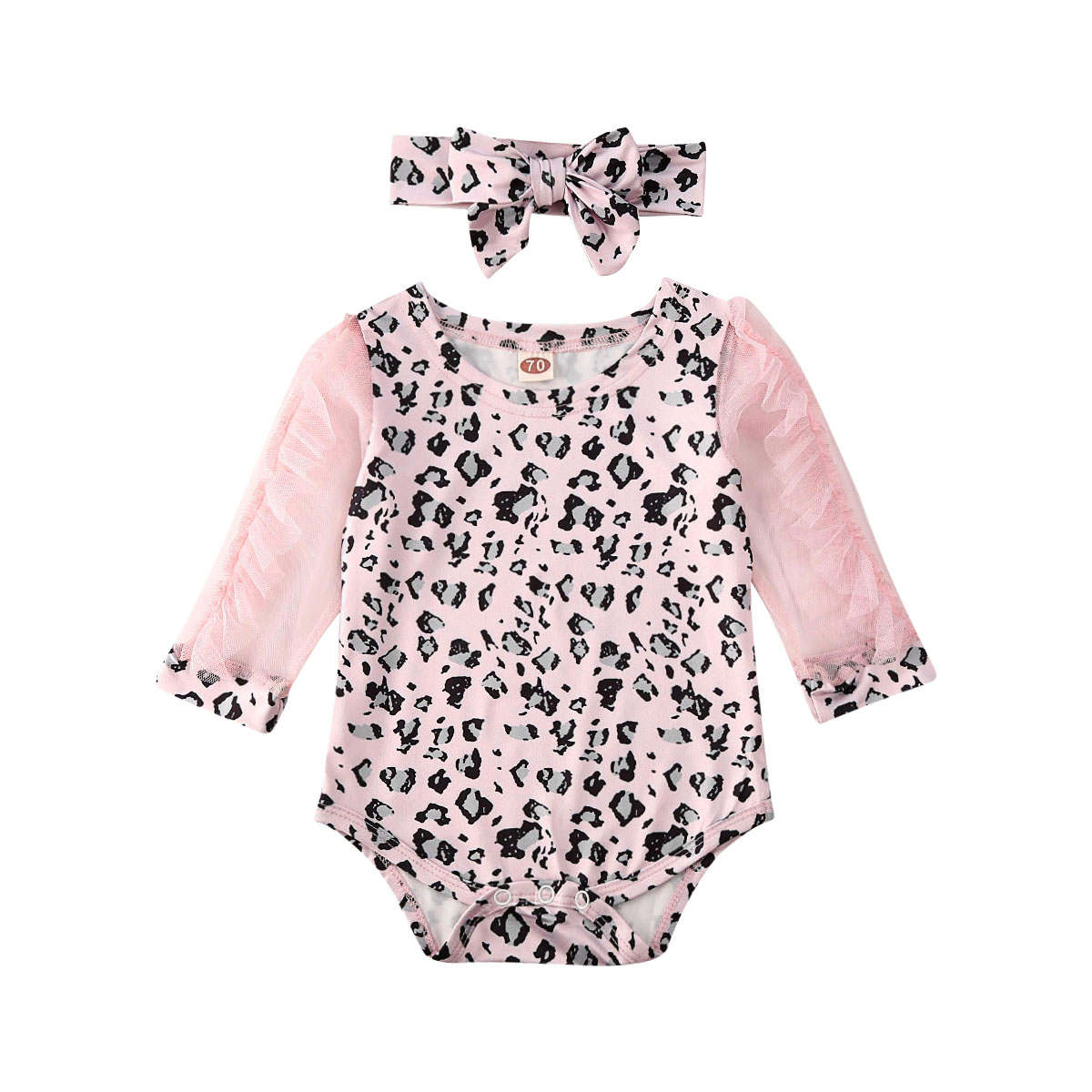 Long Sleeve Leopard Newborn Baby Girl Bodysuit With Headband Infant Girl Bodysuit Body Bebe Clothes